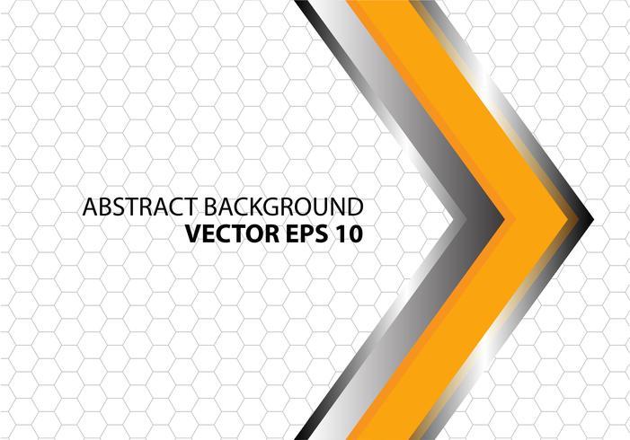 Abstracte oranje metaal zilveren pijl met grijs hexagon netwerkpatroon op wit ontwerp