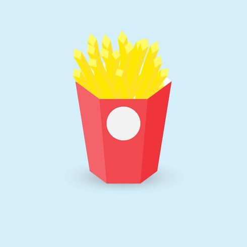 Vektor illustration pommes frites i röd papperslåda på blå bakgrund.