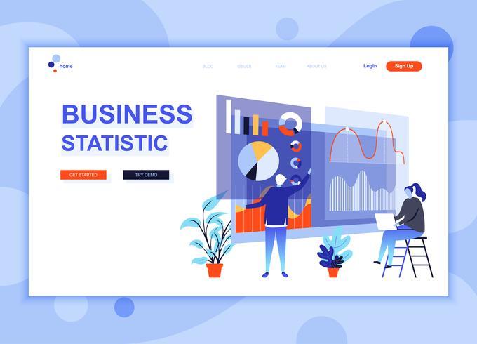 Conceito de modelo de design de página web plana moderna de estatística de negócios decorados personagem de pessoas para o site e desenvolvimento de sites móveis. Modelo de página de destino plana. Ilustração vetorial