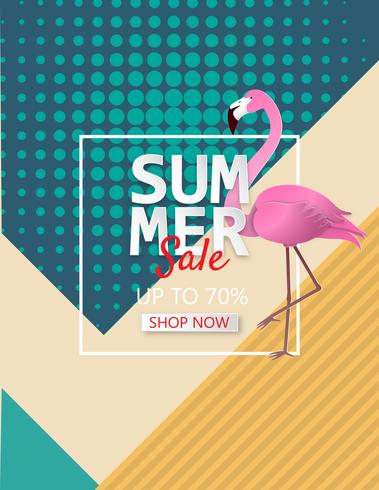 Illustration of Summer sale poster background with flamingo.