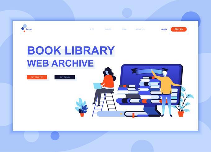 El concepto plano moderno de la plantilla del diseño de la página web de la biblioteca del libro adornó el carácter de la gente para el sitio web y el desarrollo web móvil. Plantilla de página de aterrizaje plana. Ilustracion vectorial