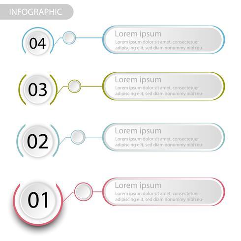 Infografía de datos de negocios, tabla de proceso con 4 pasos, vector e ilustración