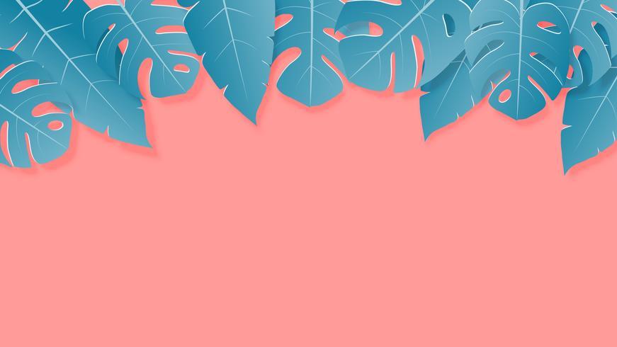 Tropiska blad gröna och rosa pastellfärger papper klippt stil på bakgrunden med tomt utrymme för reklamtext.