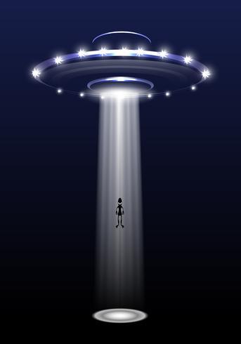 UFO och främling på natten bakgrund vektor illustration.