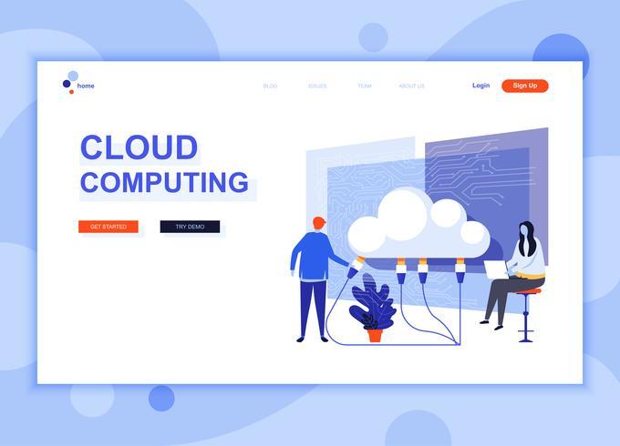 O conceito moderno do molde do projeto do página da web do plano da tecnologia da nuvem decorou o caráter dos povos para o desenvolvimento do Web site e do Web site móvel. Modelo de página de destino plana. Ilustração vetorial