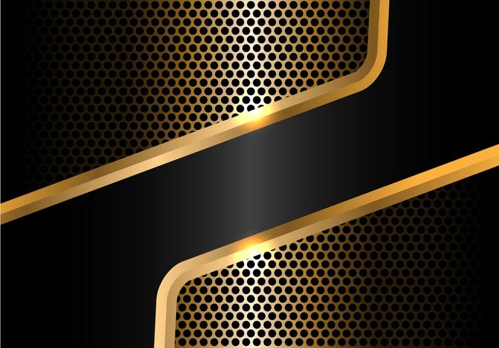 Abstract Black Gold Line And Circle Mesh Design Modern