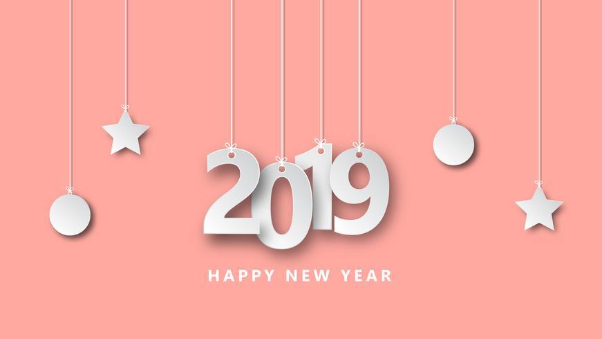 Feliz año nuevo 2019 ilustración vectorial diseño creativo papel estilo de corte.