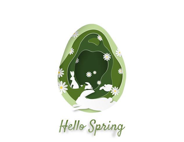 Ilustração criativa da primavera e conceito de Páscoa.