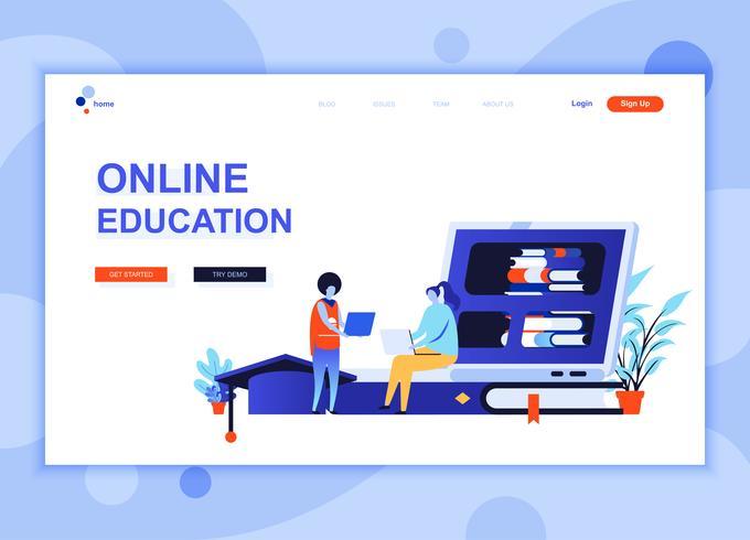Modernes flaches Webseitendesign-Schablonenkonzept der Online-Bildung verzierte Menschencharakter für Website- und mobile Websiteentwicklung. Flache Landing-Page-Vorlage. Vektor-illustration