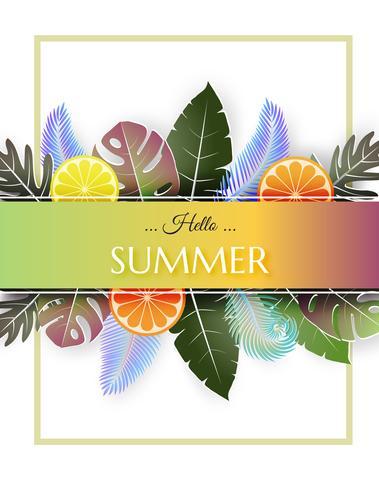 Sfondo di estate illustrazione creativa con frutta colorata e foglie tropicali.