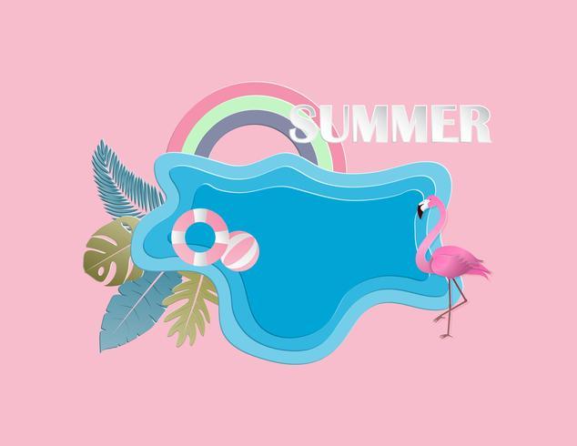 Concetto creativo del fondo di estate dell'illustrazione con lo stagno, uccello del fenicottero, foglie.