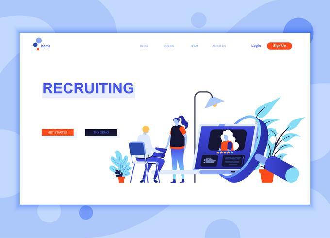 Moderno concepto de plantilla de diseño de página web plana de Recruiting decorado personas carácter para sitio web y desarrollo de sitio web móvil. Plantilla de página de aterrizaje plana. Ilustracion vectorial