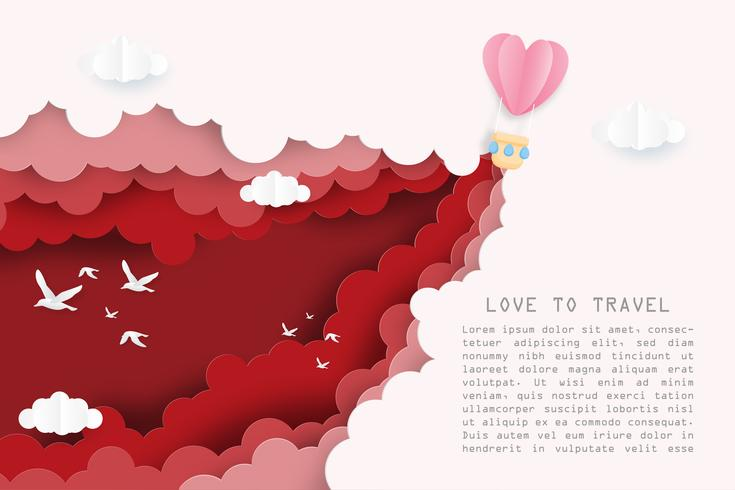 Creative illustration love to travel Valentine's day concept.