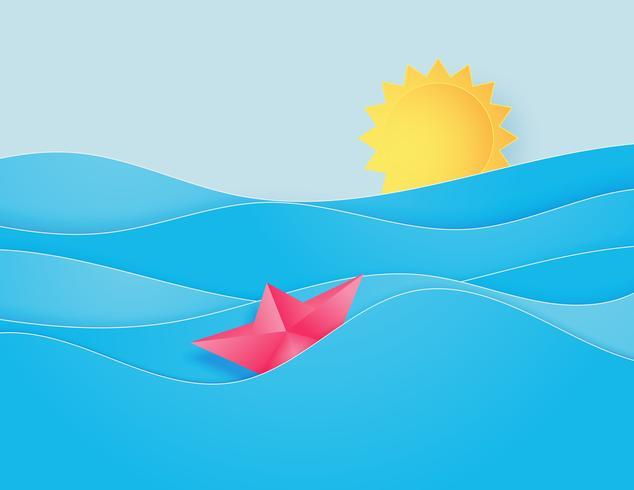 La vague d'eau de mer avec origami fait voilier flottant sur la mer et le soleil coupe le style de papier.