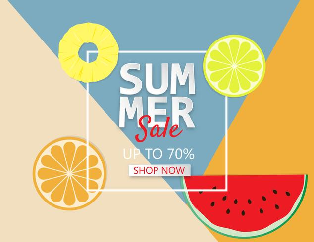 Summer sale background with pineapple, orange and watermelon.