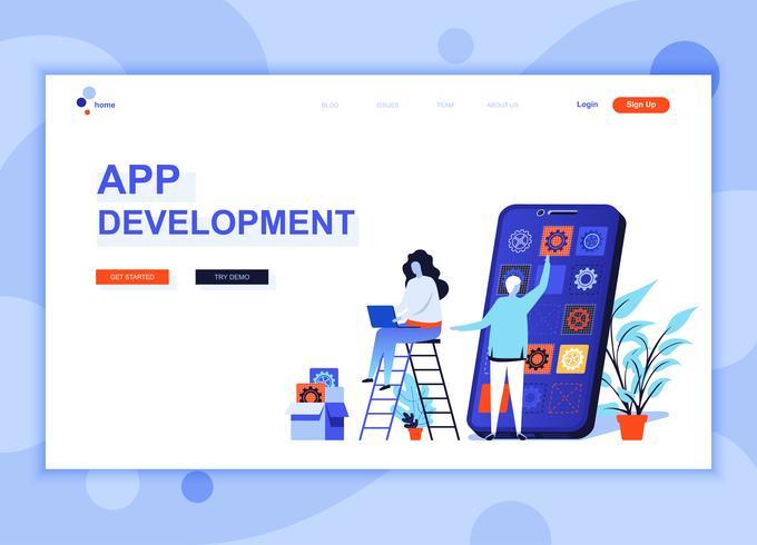 El concepto de plantilla de diseño de página web plana moderna de Desarrollo de aplicaciones decoró el carácter de las personas para el desarrollo de sitios web y sitios web móviles. Plantilla de página de aterrizaje plana. Ilustracion vectorial
