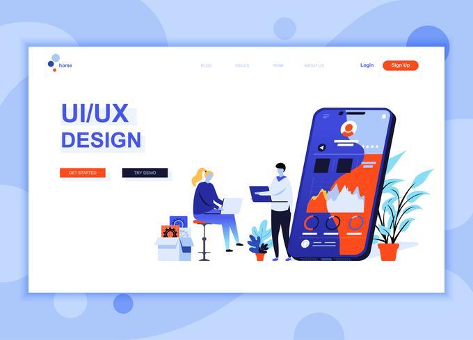 Moderne platte webpagina ontwerpsjabloon concept van UX, UI Design ingericht mensen karakter voor website en mobiele website-ontwikkeling. Sjabloon voor platte landingspagina's. Vector illustratie.