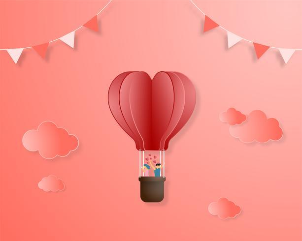 Criativo amor convite cartão dia dos namorados conceito. O papel da ilustração do vetor cortou o fundo do estilo.