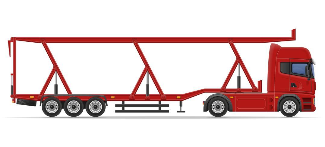 semirremolque camión para transporte de ilustración vectorial de coche