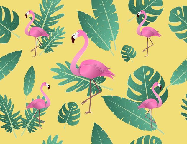 Kreativer Vektorillustrationsflamingo und tropische Blätter.