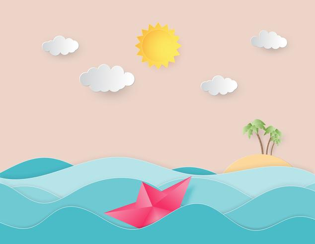 Ocean water wave with origami made sailing boat floating on the sea and sun paper cut style.