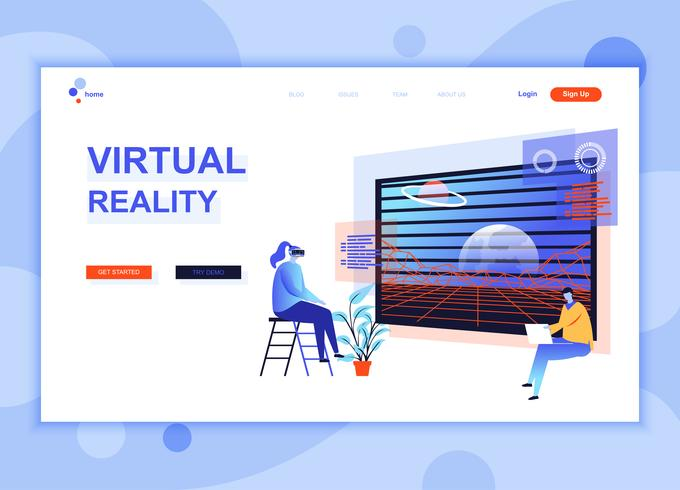 Moderna platt webbdesign mall koncept av Virtual Augmented Reality dekorerade människor karaktär för webbplats och mobil webbutveckling. Platt målsida mall. Vektor illustration.