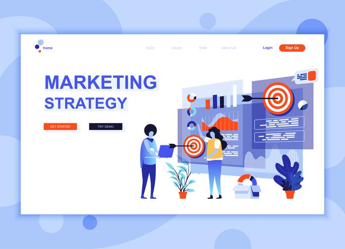 Moderne platte webpagina ontwerpsjabloon concept van marketingstrategie ingericht mensen karakter voor website en mobiele website ontwikkeling. Sjabloon voor platte landingspagina's. Vector illustratie.
