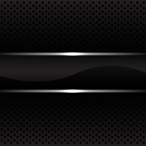 La bandiera nera della linea d'argento sull'illustrazione nera di vettore del modello della maglia del cerchio.