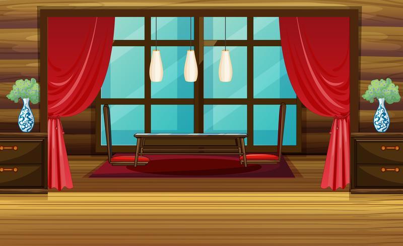 Zaalontwerp met rood gordijn en stoelen