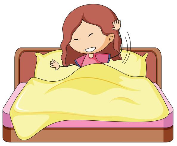 Ein Gekritzelmädchen im Bett