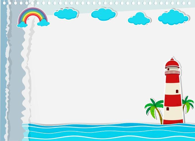 Pappersdesign med fyr och hav
