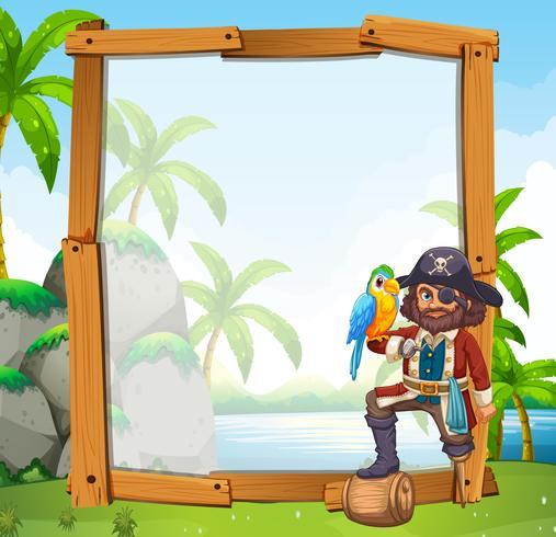 Grensontwerp met papegaai en piraat