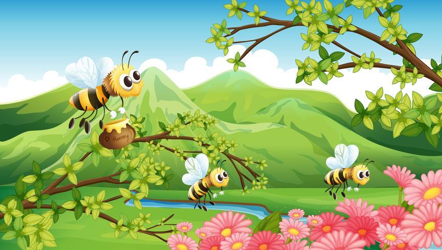 En utsikt över berget med blommor och bin