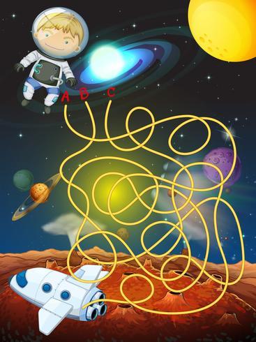 Gioco del labirinto con l'astronauta nello spazio