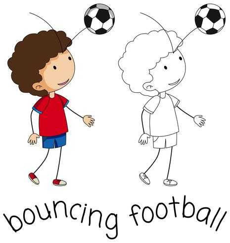 Um, doodle, menino, pular, futebol