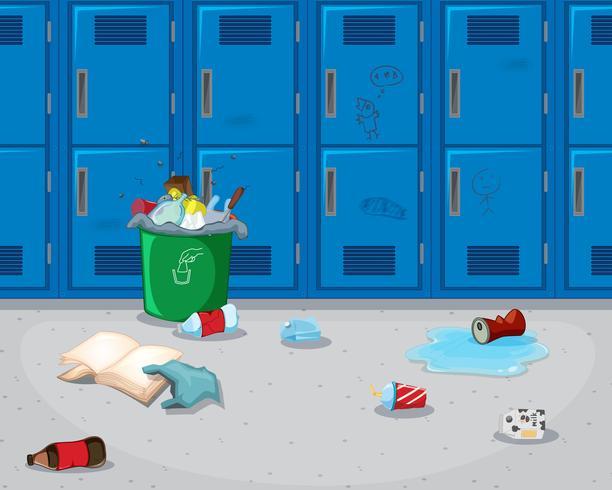 Dirty school hallway background