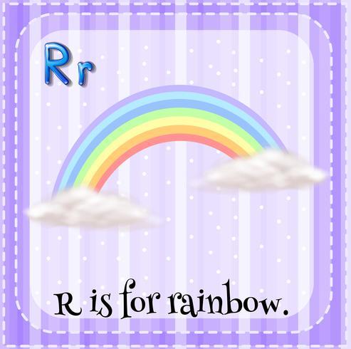 Flashcard van R is voor regenboog