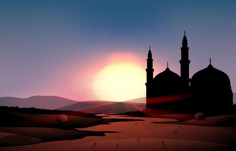 Cena da natureza com mesquita durante o pôr do sol