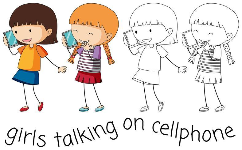 Gekritzelmädchen, das auf Mobiltelefon spricht