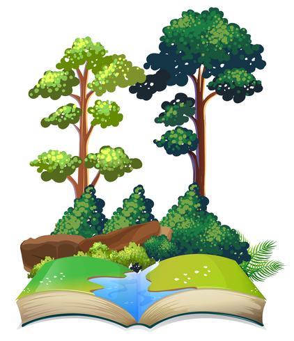Livro da natureza com árvores e rio