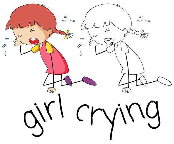 Doodle girl crying character