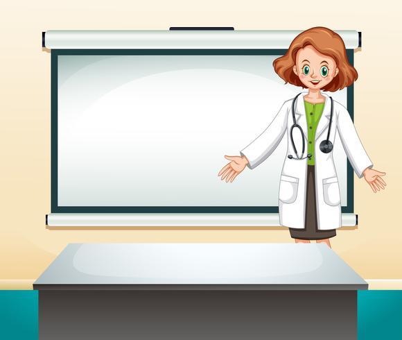 Kvinnlig läkare framför vit skärm