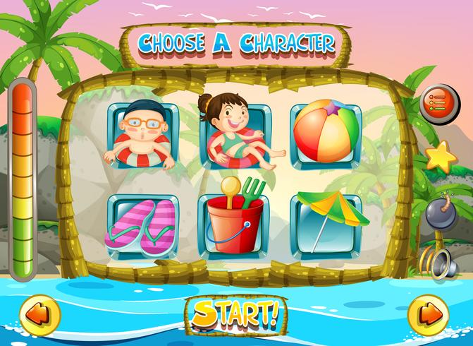 Slot game template with children characters
