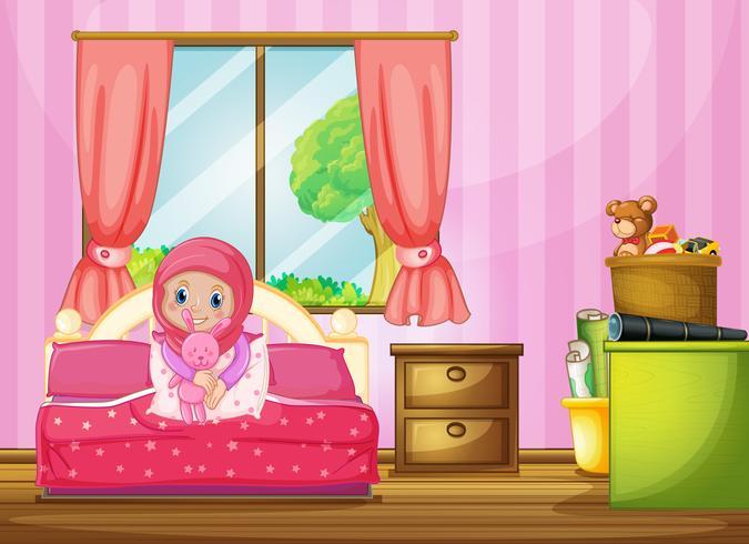 Una ragazza musulmana in camera da letto