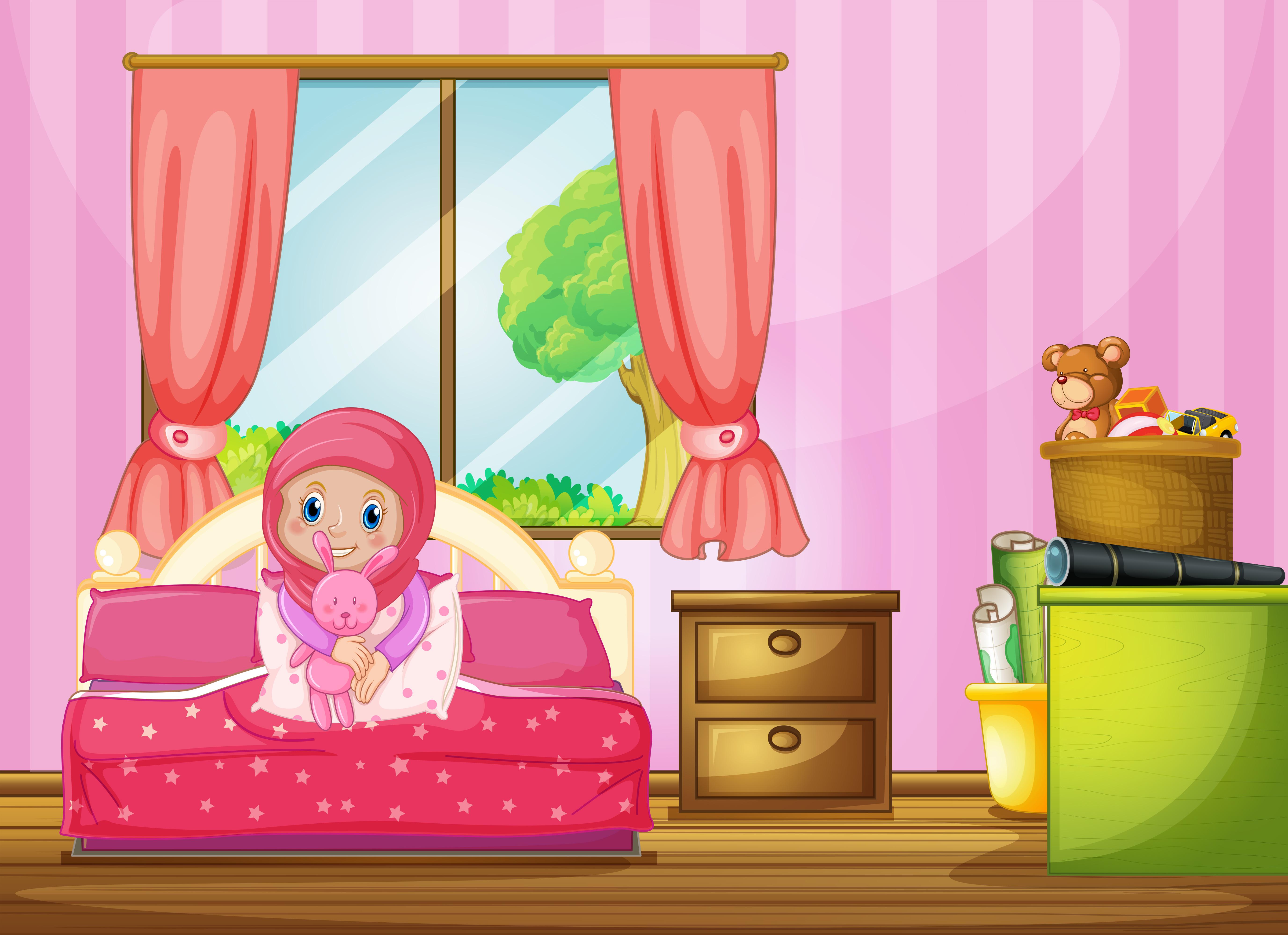 a muslim girl in bedroom  download free vectors clipart