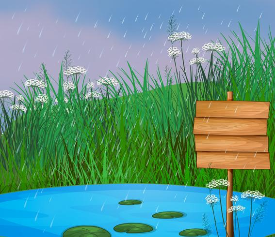 A pond and the wooden signboard