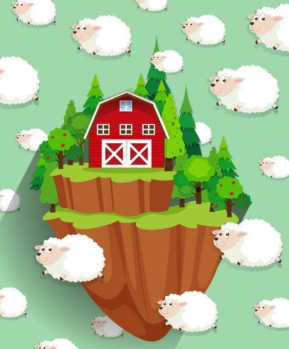 Fattoria e pecore che volano nel cielo