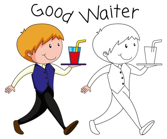 A waiter character on white backgroubd