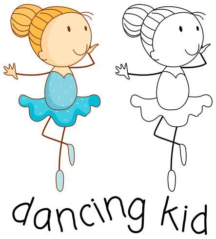 Doodle Mädchen tanzen Ballett