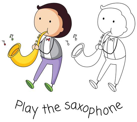 Gekritzelmann, der Saxophon spielt